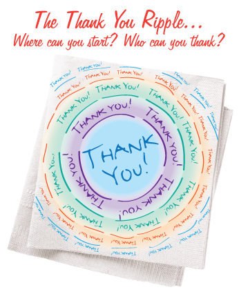 Where can you start a ripple of thanking?